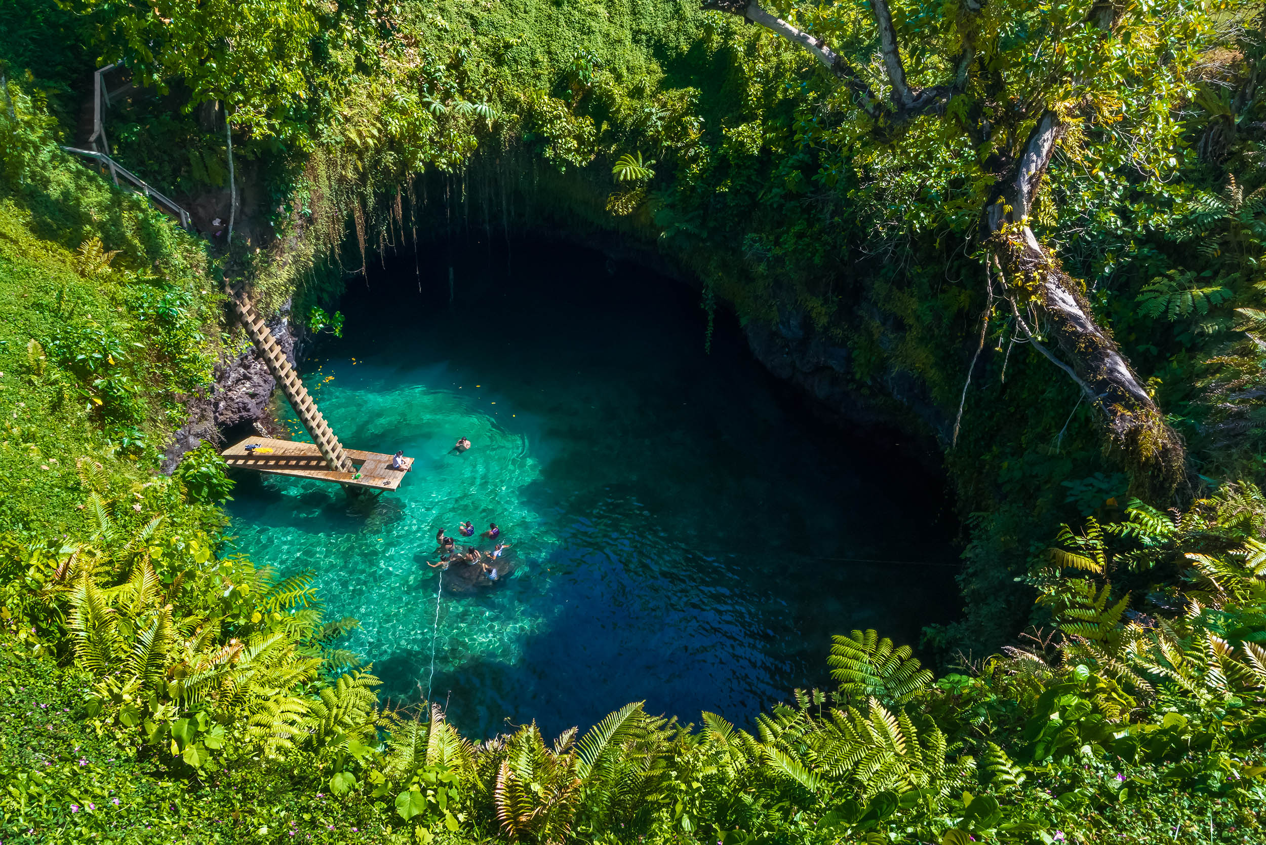 A verdant, deep water hole with brilliant blue water, a step ladder leading down it to a platform and a few people swimming in the water, Samoa