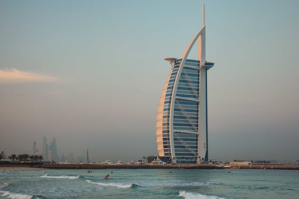 This unique five-star hotel is often described as 'the world's only seven-star hotel', paying it a huge compliment. Yet the Burj Al Arab is truly one of the world's most distinctive hotels. It lies on its own artificial island by Jumeirah beach and was designed to mimic the shape of a ship's sail.
