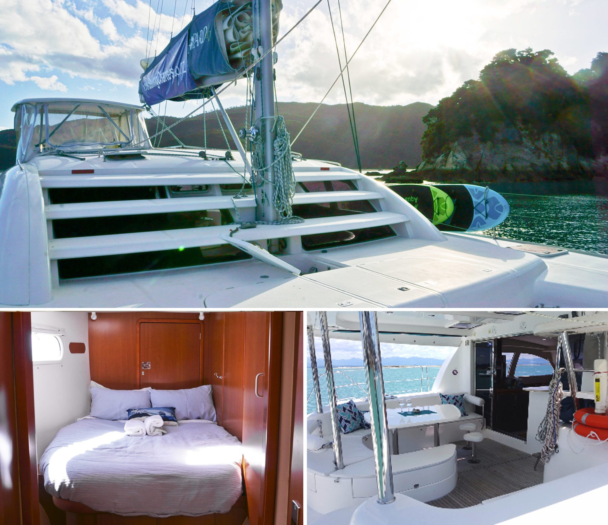 A collage of the exterior, a wood panelled bedroom and decks of a boat at Abel Tasman National Park