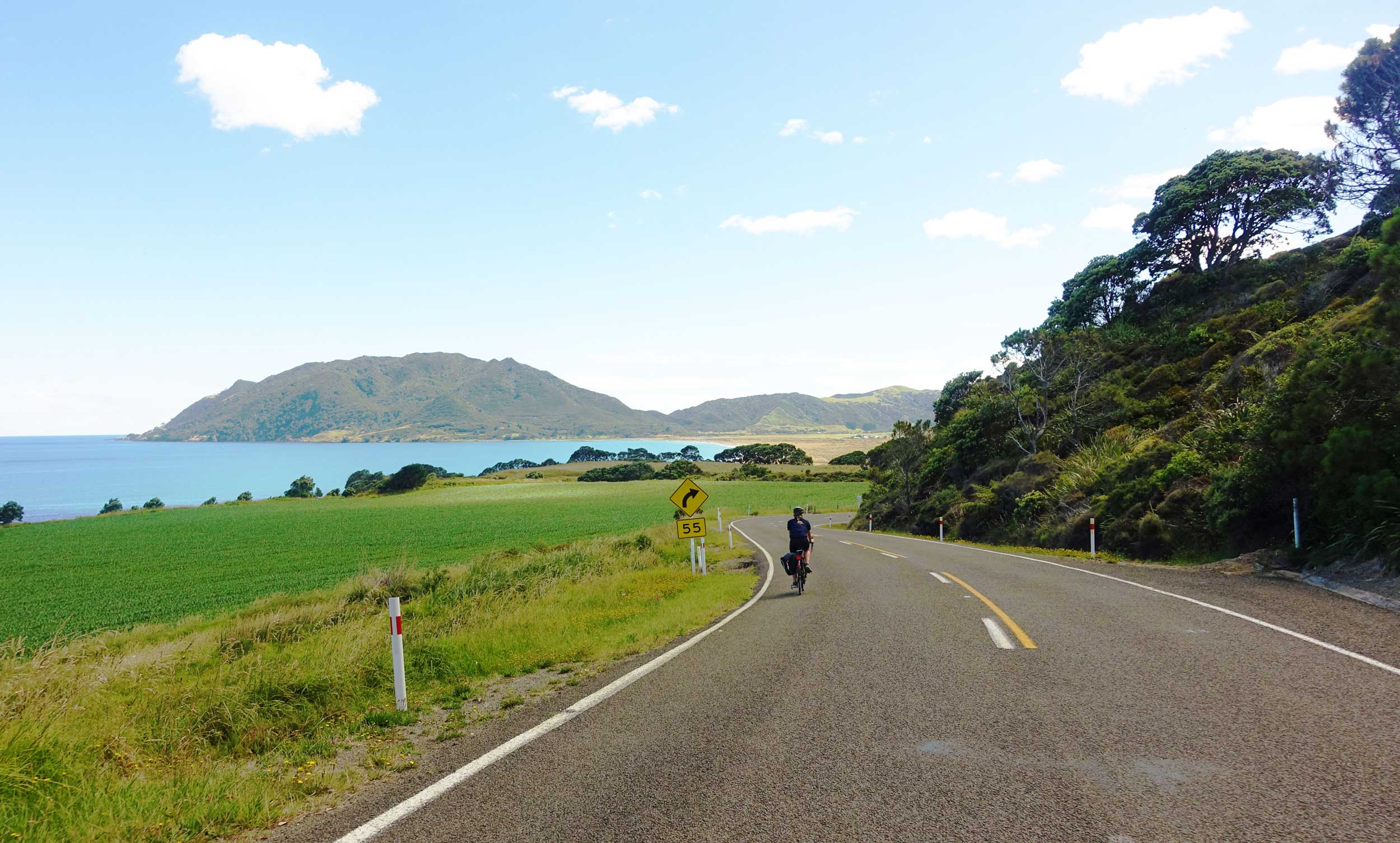 A lone cyclist on a highway with the sea and mountains in the distance, New Zealand