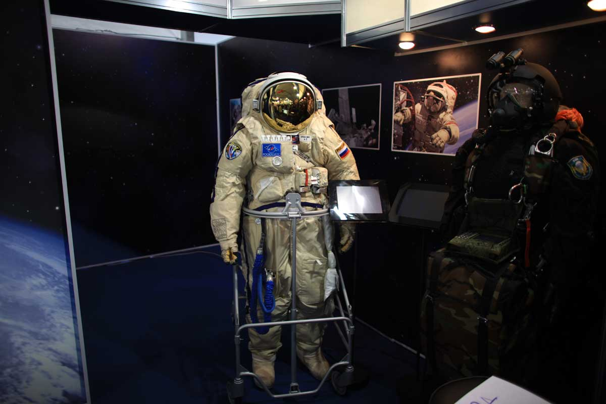Astronaut suit on display at MAKS, Russia