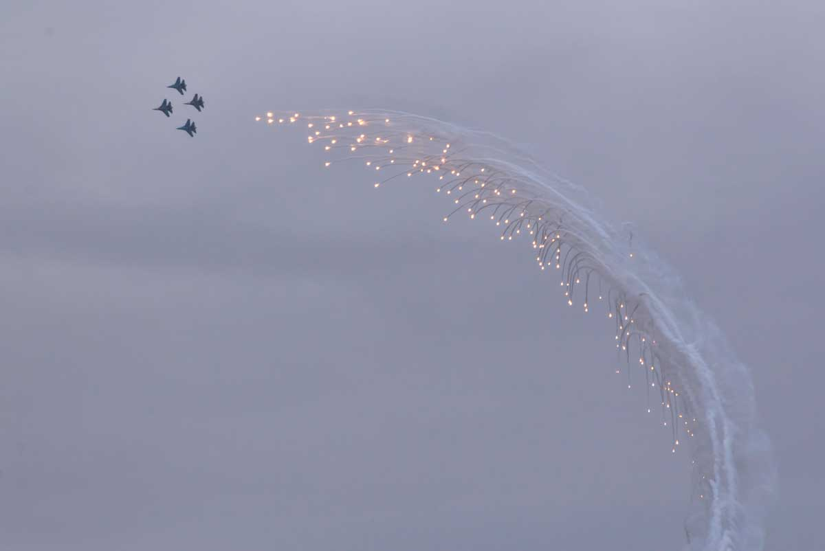 Aircraft letting off fireworks in the sky at MAKS, Russia