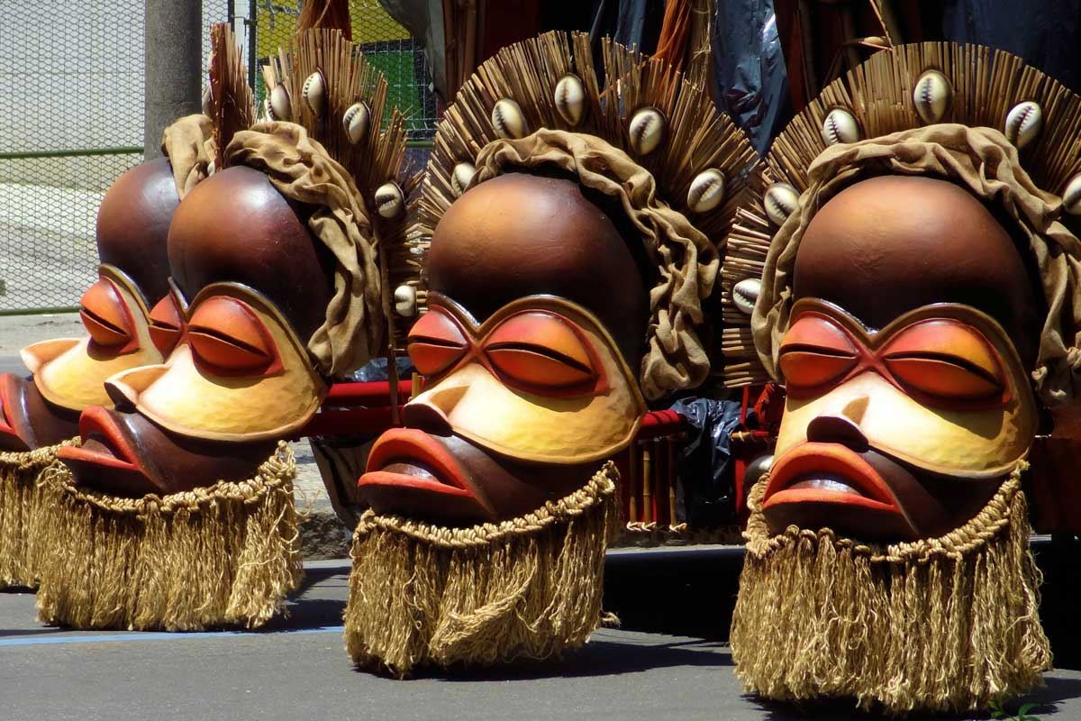 A quartet of giant African faces at the Rio Carnival