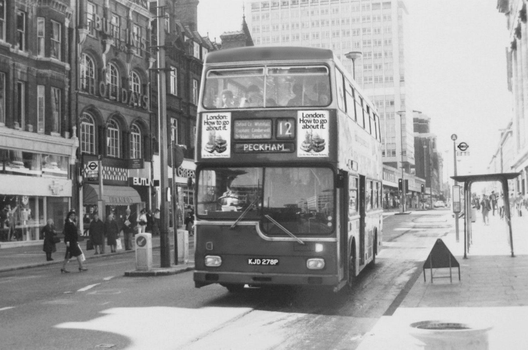 London routemaster bus bound for Peckham, black and white street scene