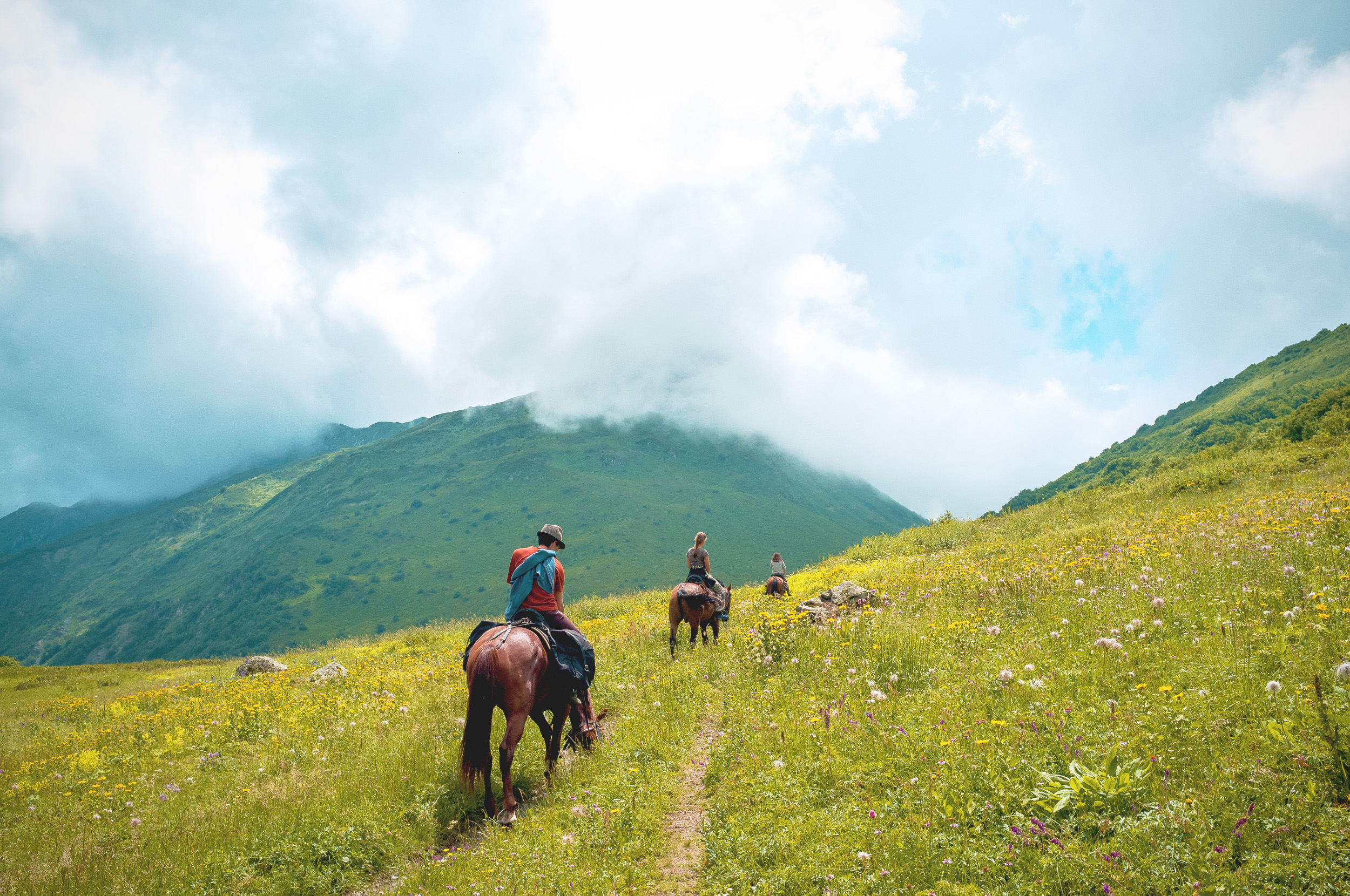 Horseback riding at the Caucasus biosphere reserve.