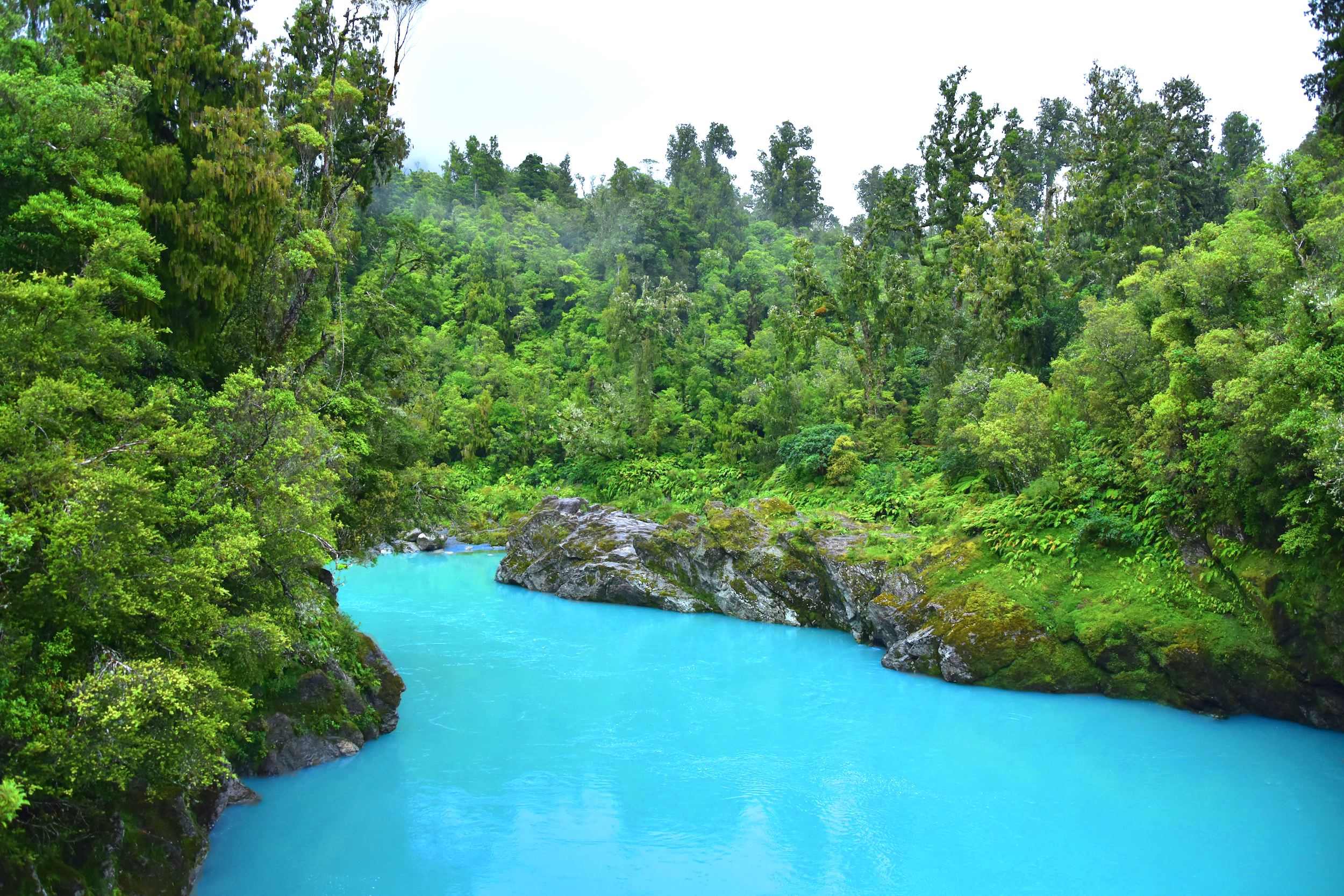 The river that flows through Hokitika Gorge is a captivating blue-green colour, caused by particles of mineral-rich schist rock and sandstone that are suspended in the water.