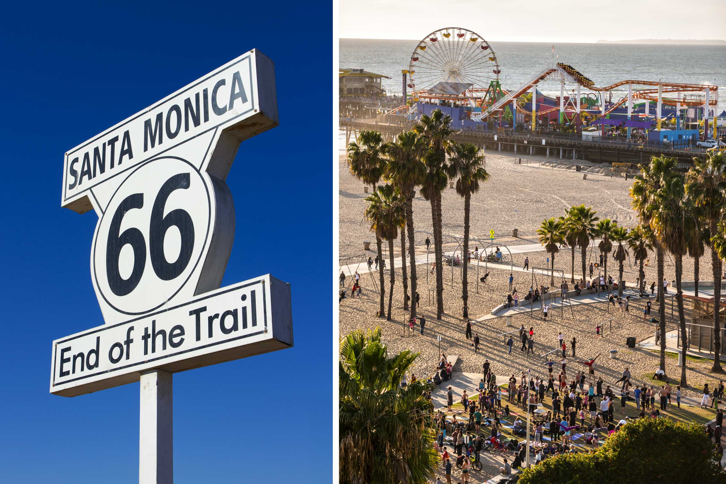 A montage of a road sign and a view over a beach to a playground with a ferris wheel by the water, Santa Monica, USA