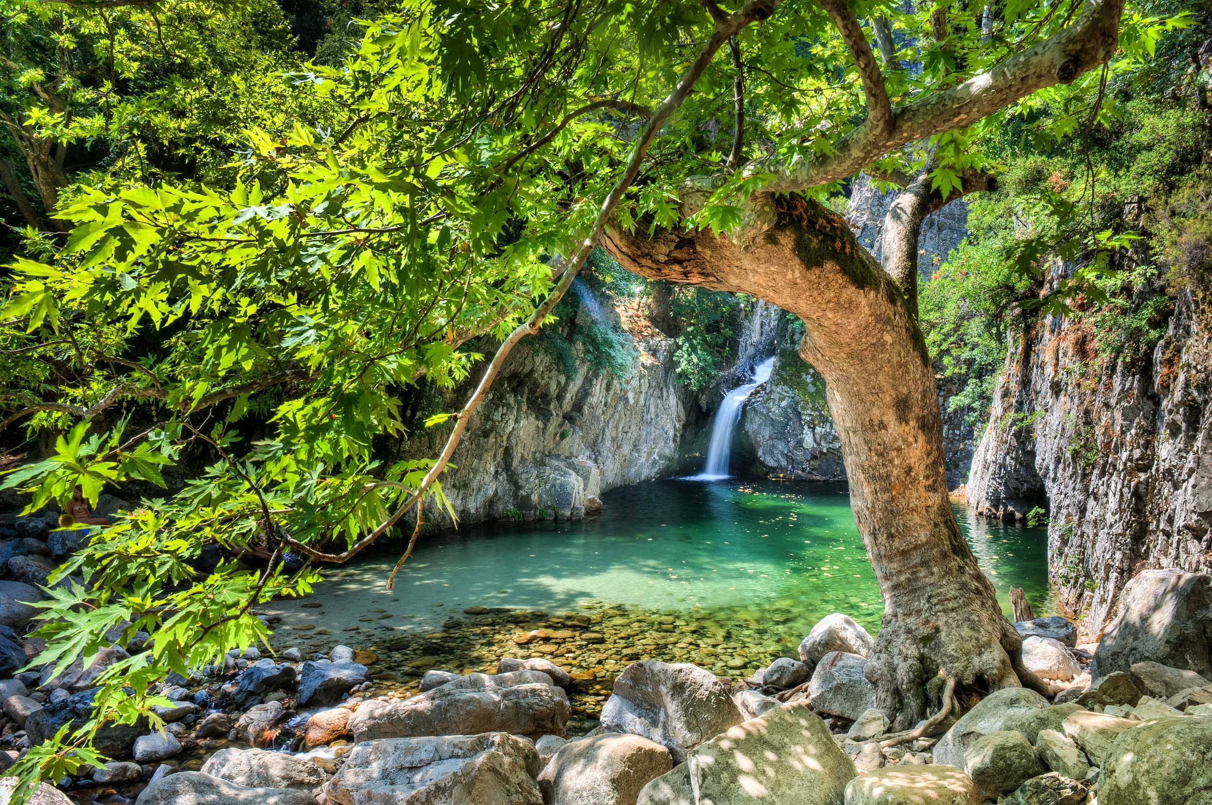 A small waterfall cascading down rocks into a limpid green pool among verdant vegetation, Greece