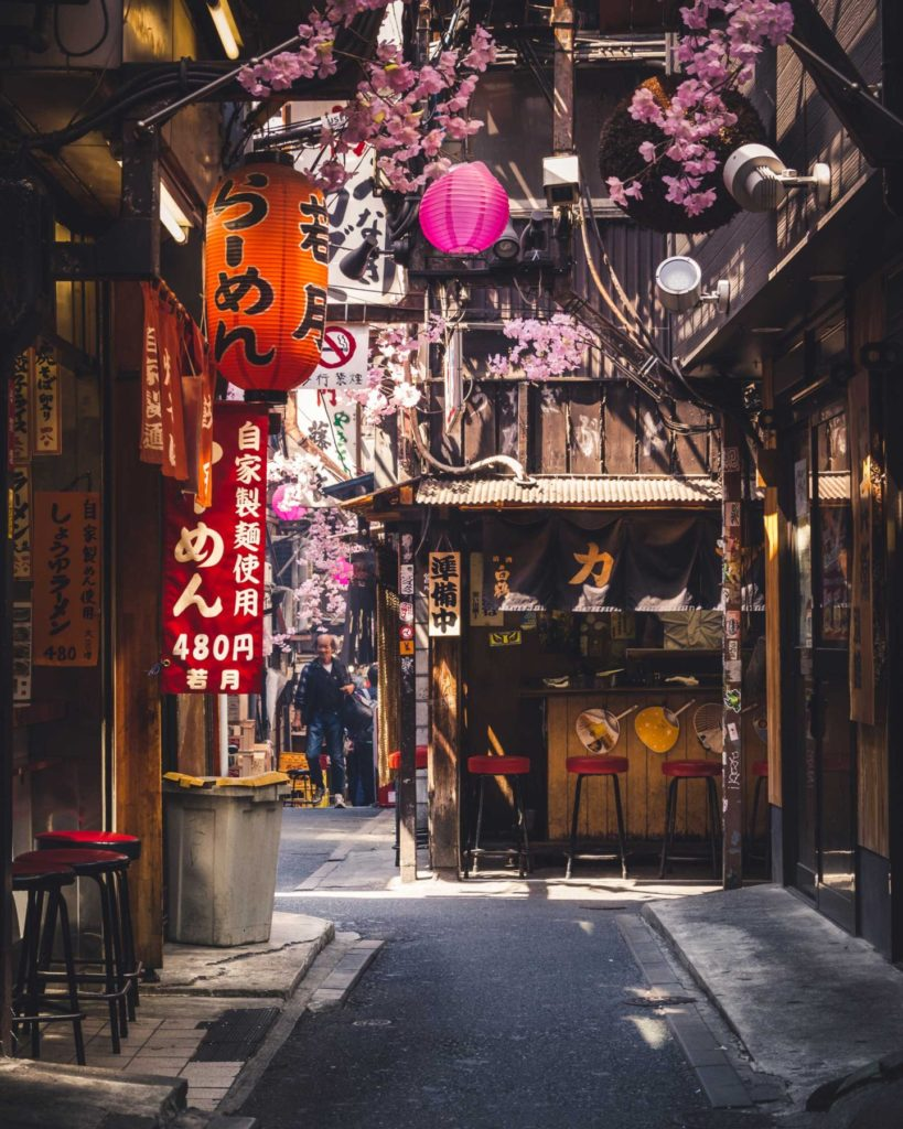 Located near Shinjuku station, Memory Lane is full of food stalls that sell some great food in the evening and a lively atmosphere. During the daytime, it is eerily quiet despite being in the middle of Shinjuku, with only a few people walking through it.