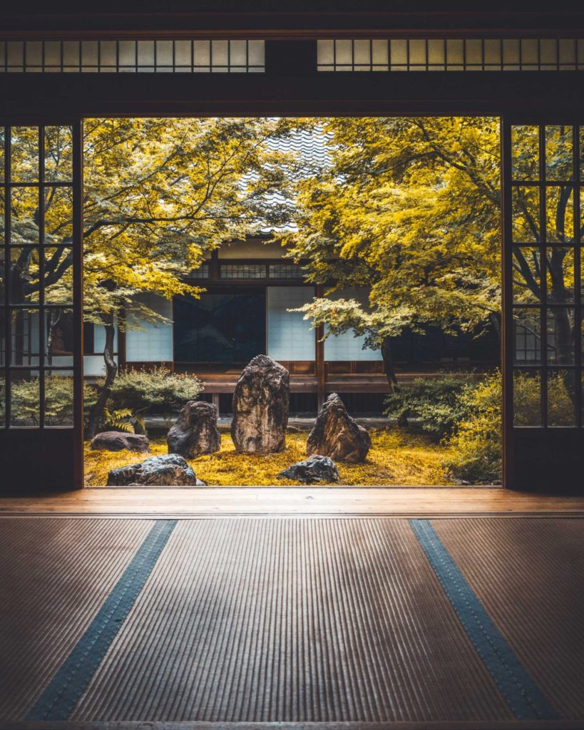 The only temple in Kyoto where one is allowed to walk around inside is Kennin-ji. Having stumbled across this temple by accident, navigating the complex hallways provides a sense of enlightenment and a zen atmosphere when sitting on the straw tatami mats looking at the garden.