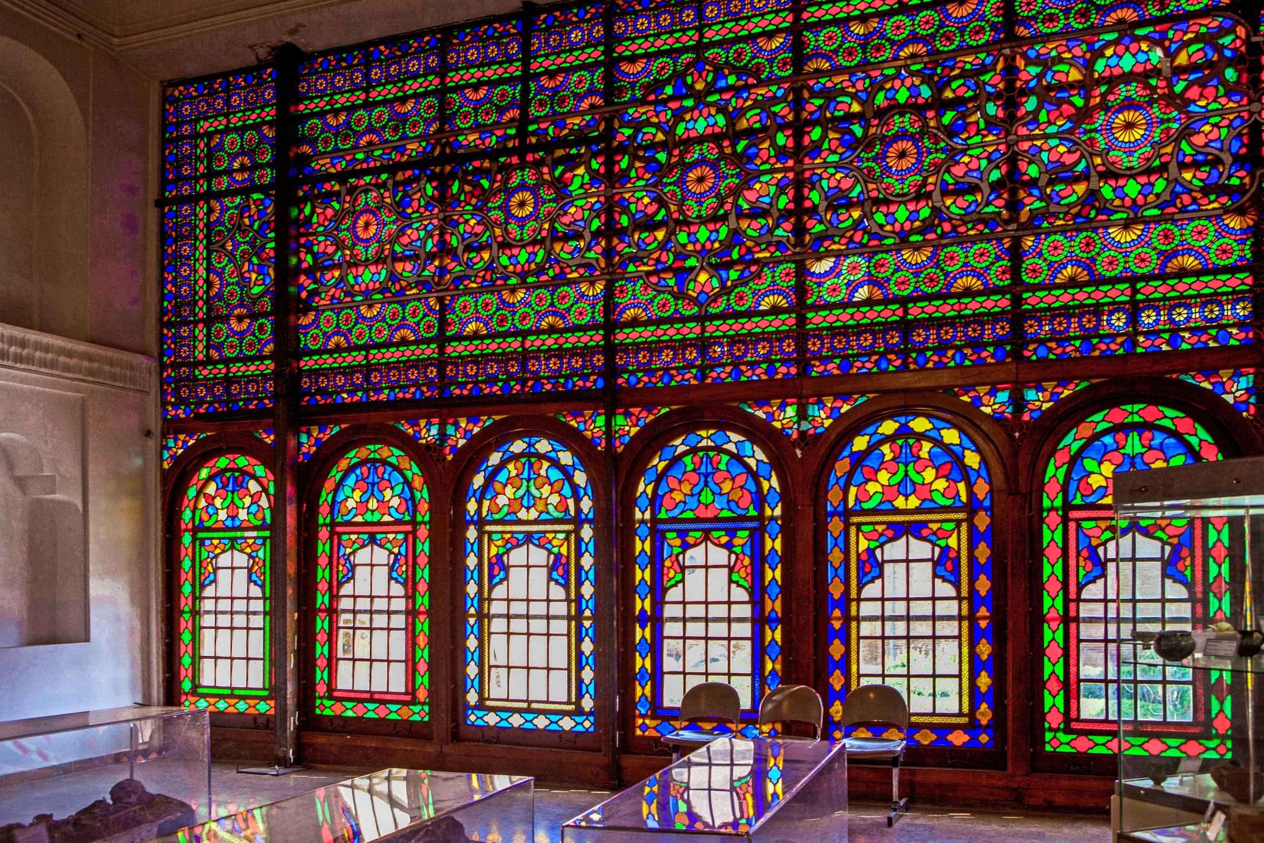 A brightly multi-coloured wall of coloured glass in Sanandaj, Iran
