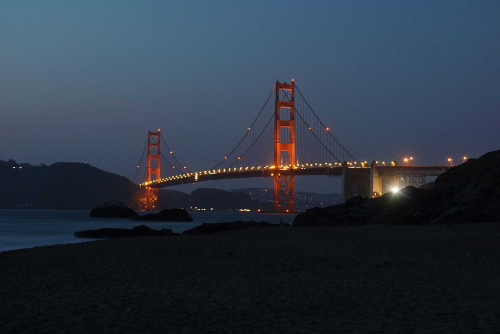 Baker Beach in San Francisco is a windy but beautiful spot to take in views of wildlife, sunsets and the majestic Golden Gate Bridge.