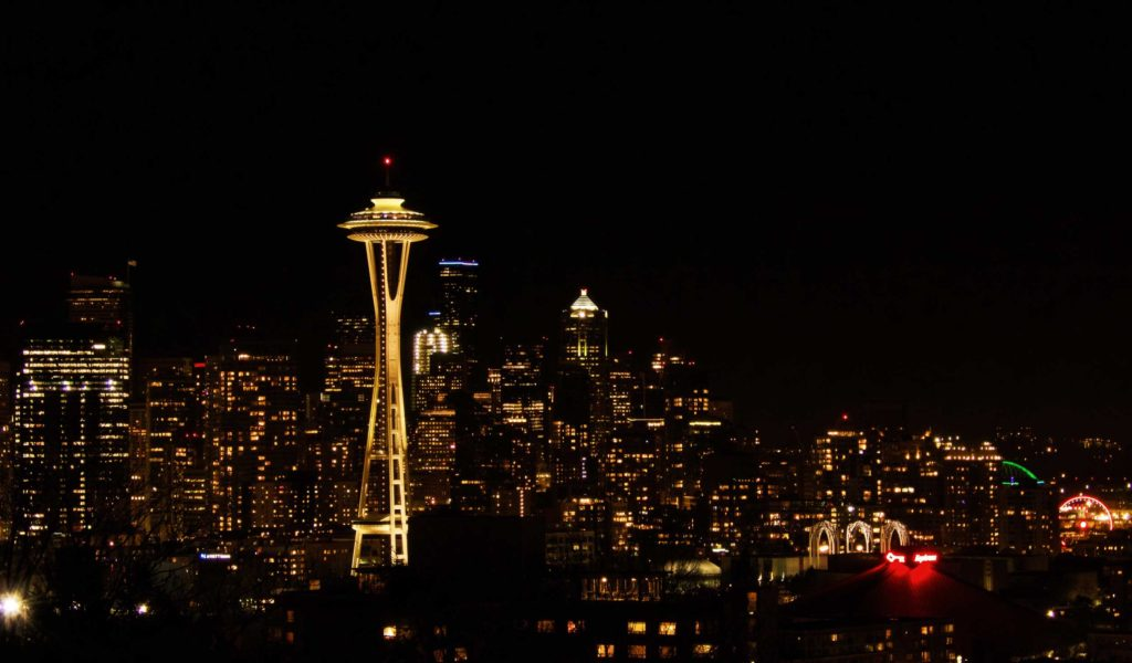 The Seattle skyline featuring the iconic Space Needle. This shot was taken from Kerry Park on a cold winter's evening.