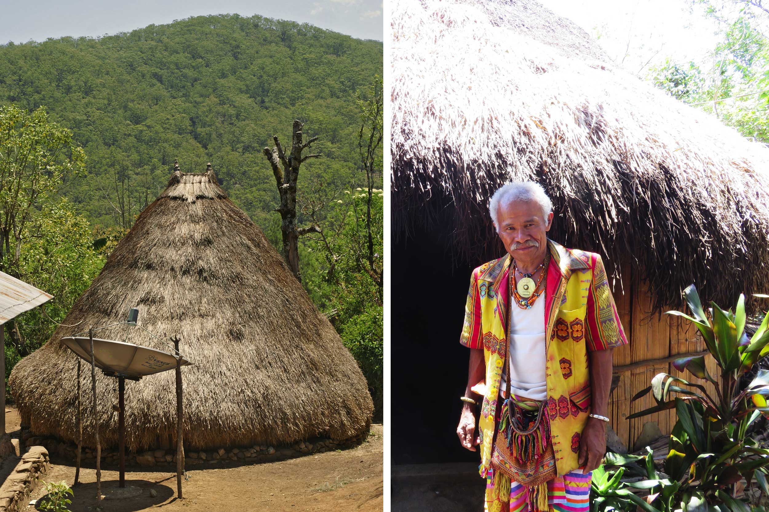 Montage of a dome-shaped thatched hut with a satellite dish next to it and an elderly man dressed traditionally outside his hut, West Timor