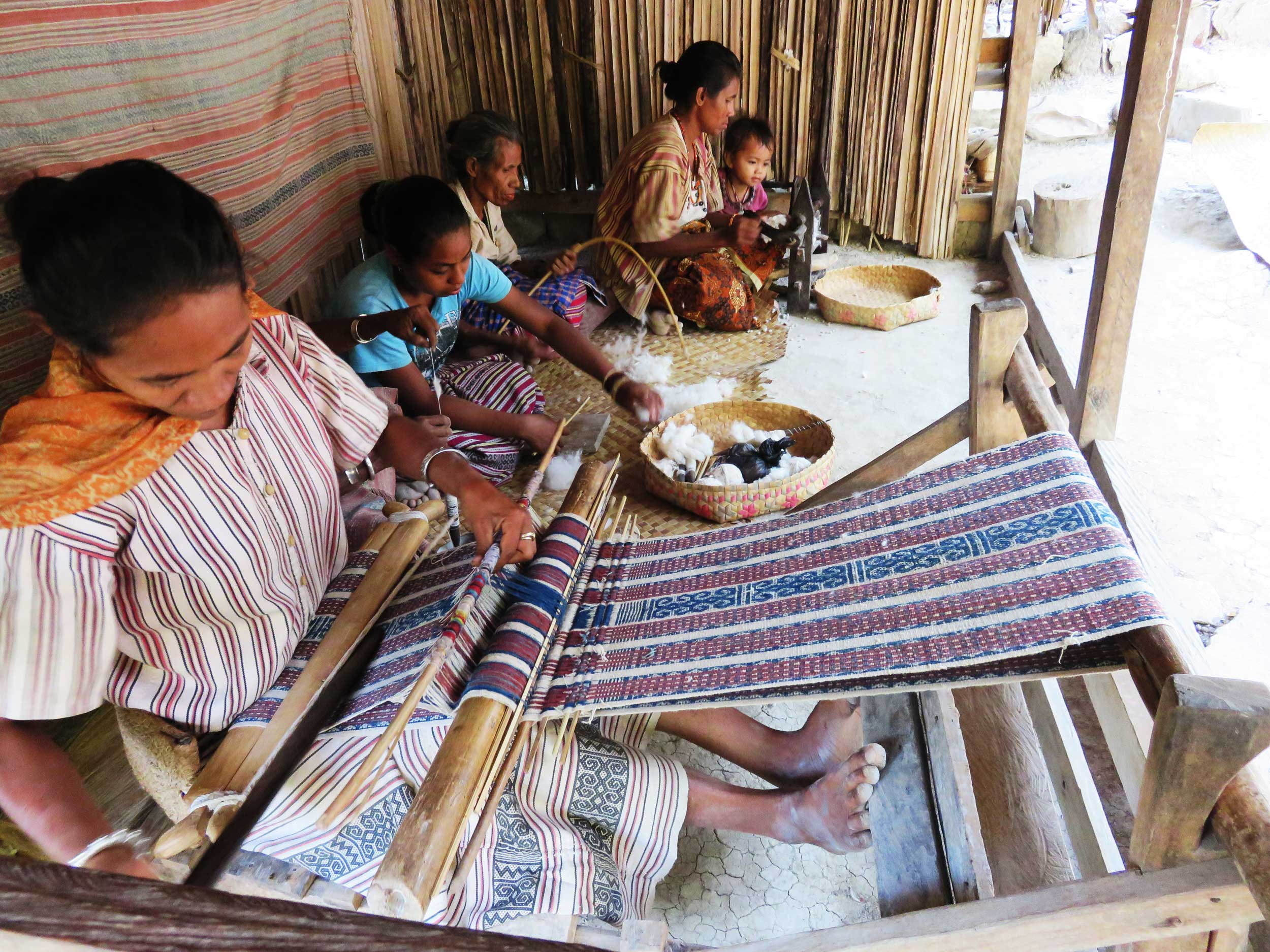 Women weaving cloth in West Timor