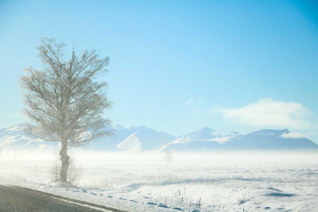 Dusty white snow blankets the landscape at Tekapo, Canterbury.