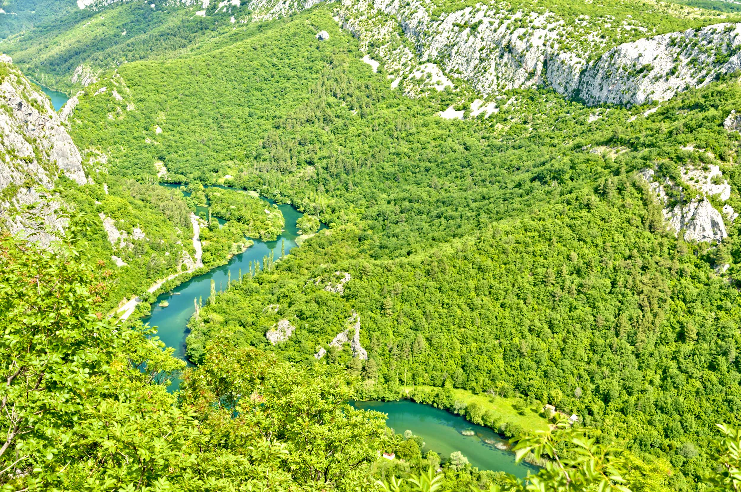 A river flowing through a lush green valley in Croatia