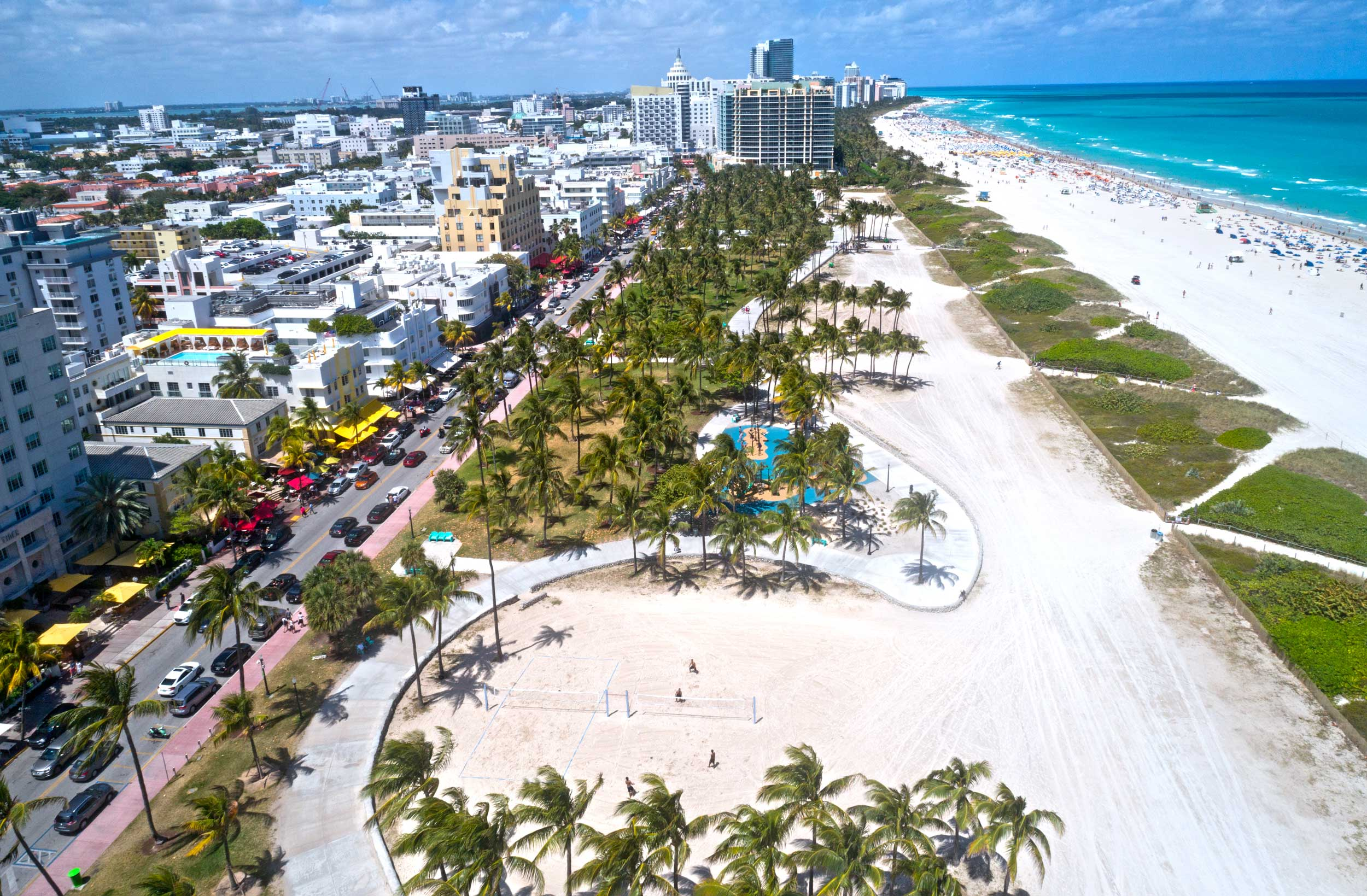 Aerial view of a boardwalk along the beach and town streets on the opposite side, Miami Beach