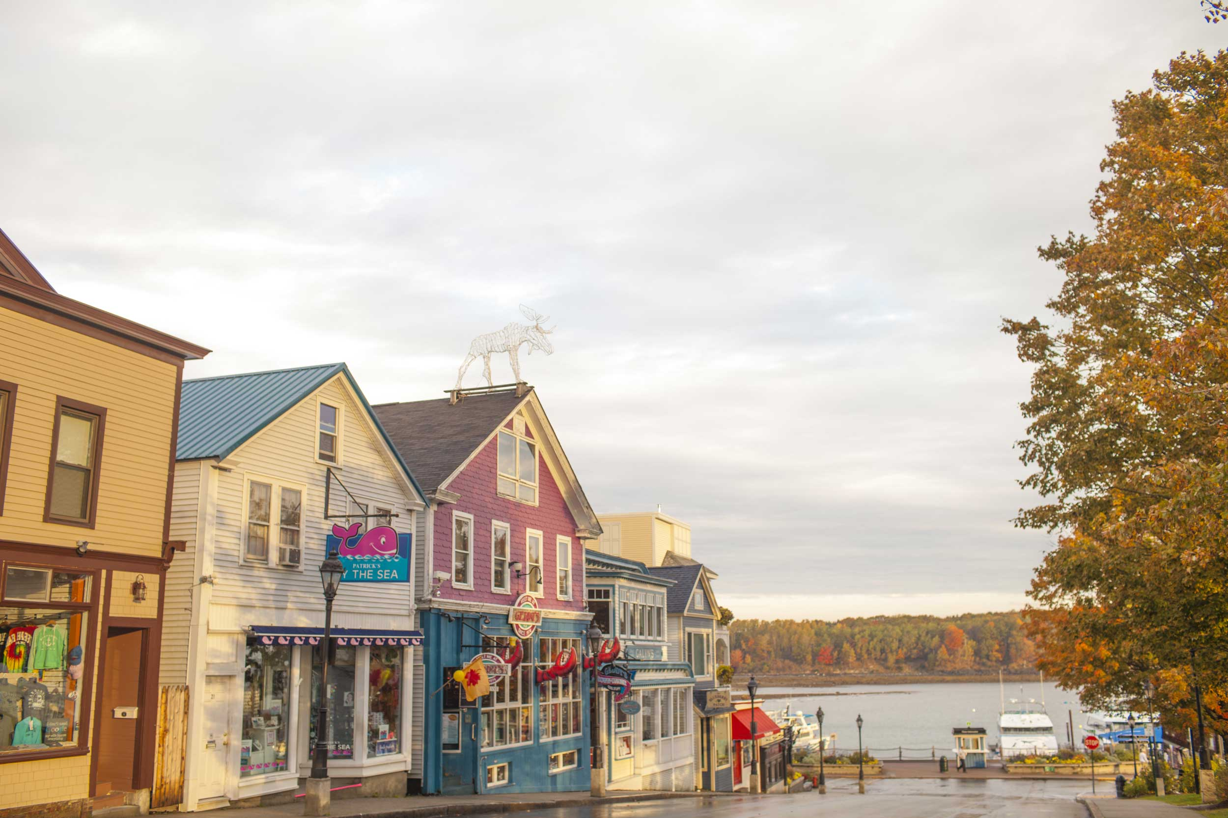 Line of colourful shop establishments leading down to a waterfront, Bar Harbor, Maine
