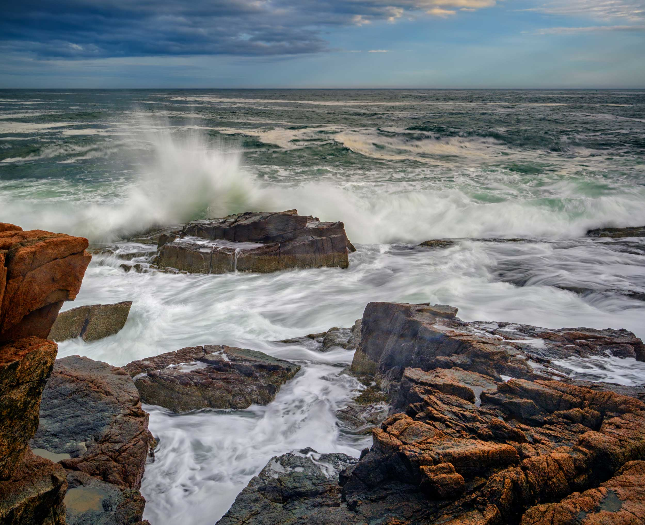 Waves pounding onto rocks at Acadia, Bar Harbor