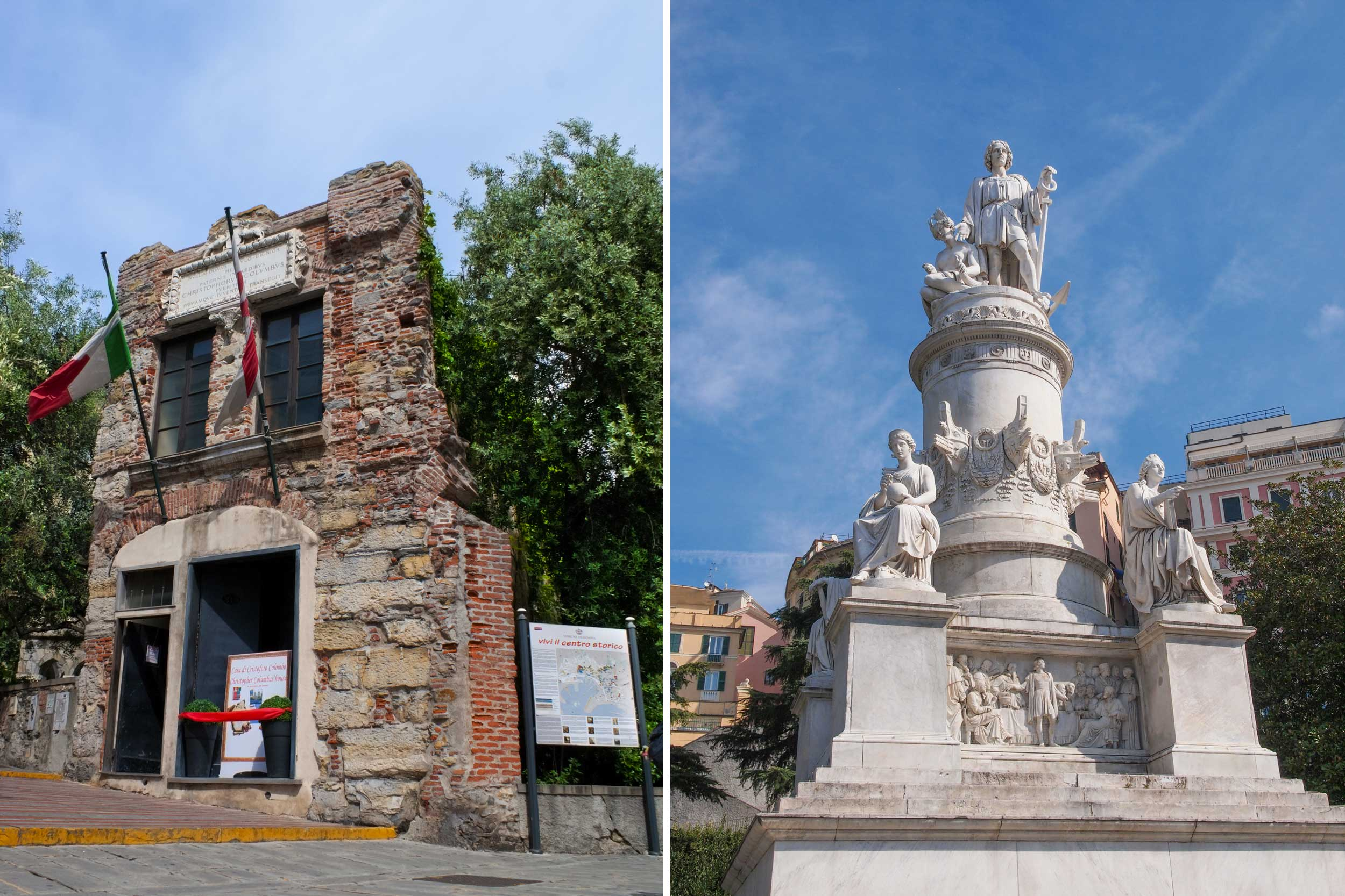 Montage of Columbus' crumbled house and a white monument to him