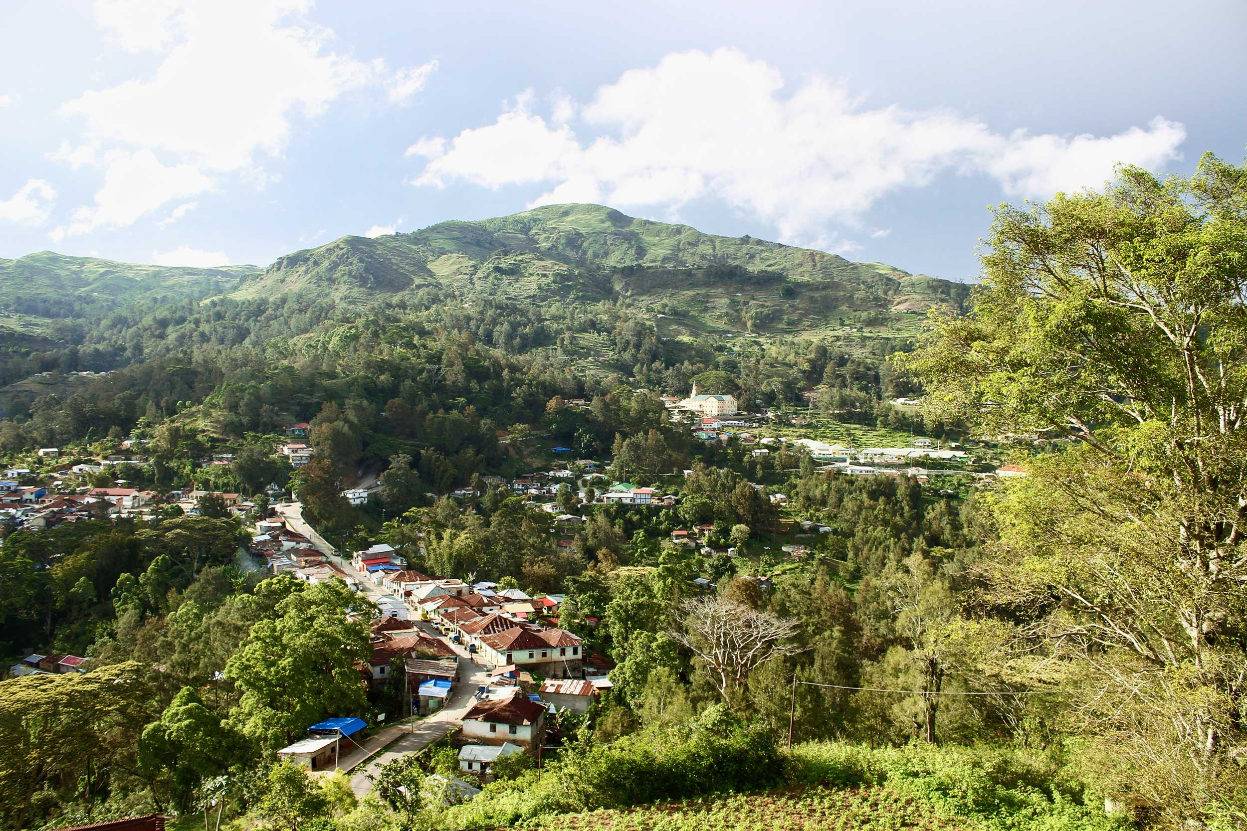 Long shot of a rustic village in a green valley with a hill in the distance, Timor-Leste