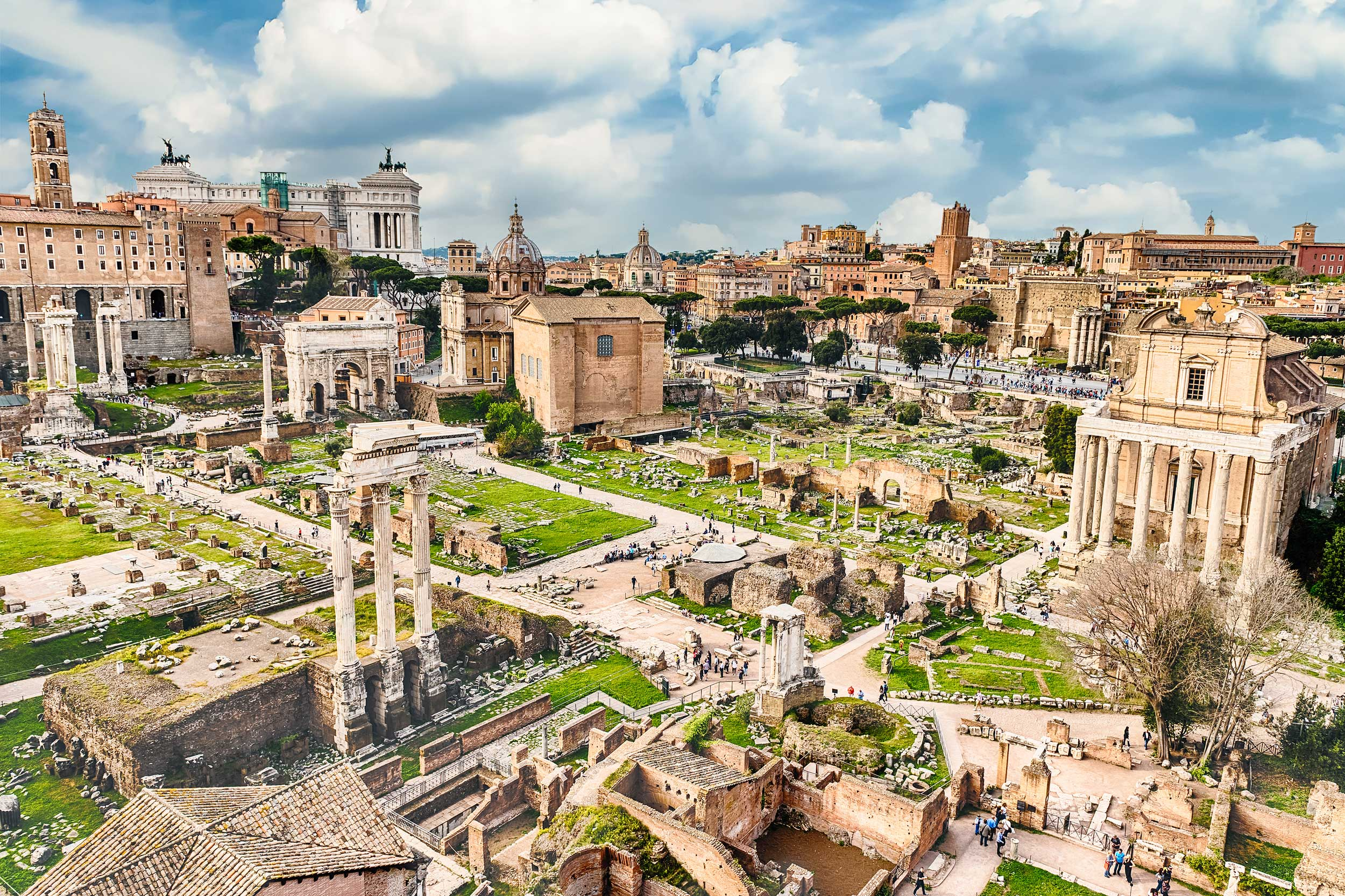 Ruined pillars and structures of the Forum, Rome