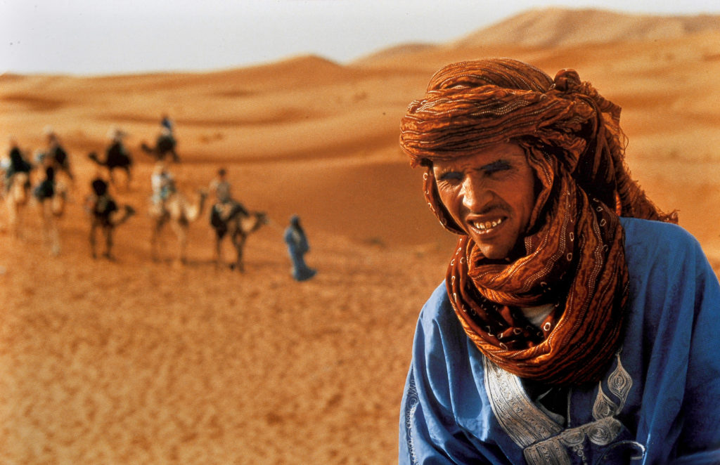 The Tuareg people are a nomadic herding tribe principally inhabiting the Sahara. They are identifiable by their traditional deep blue clothing and are sometimes called the