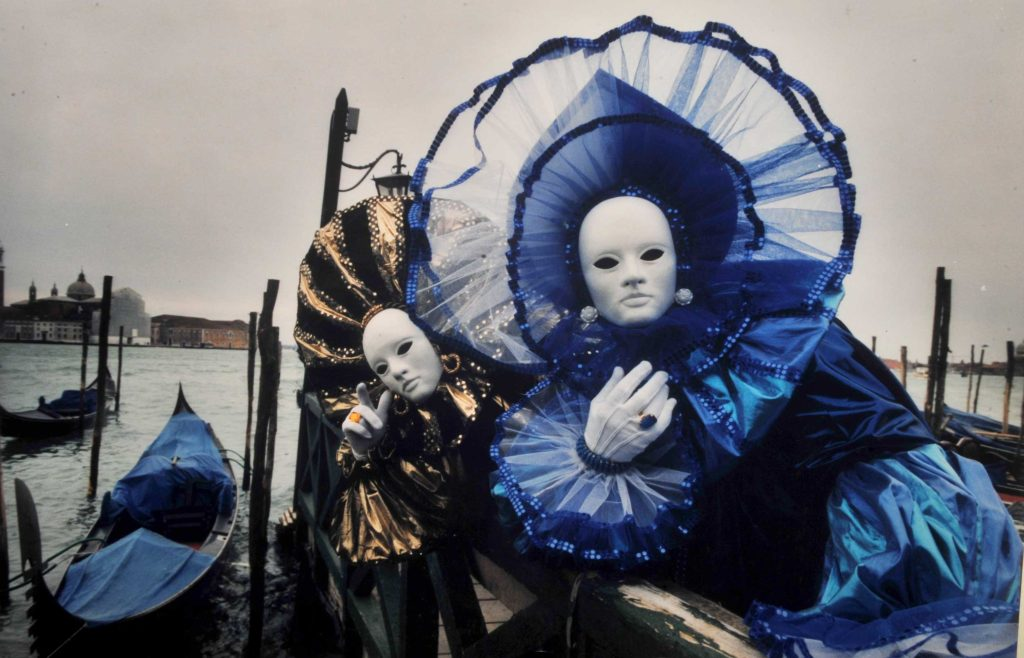 Masks are an important feature of the annual Carnival of Venice, and costumed artistes are seen at every corner.