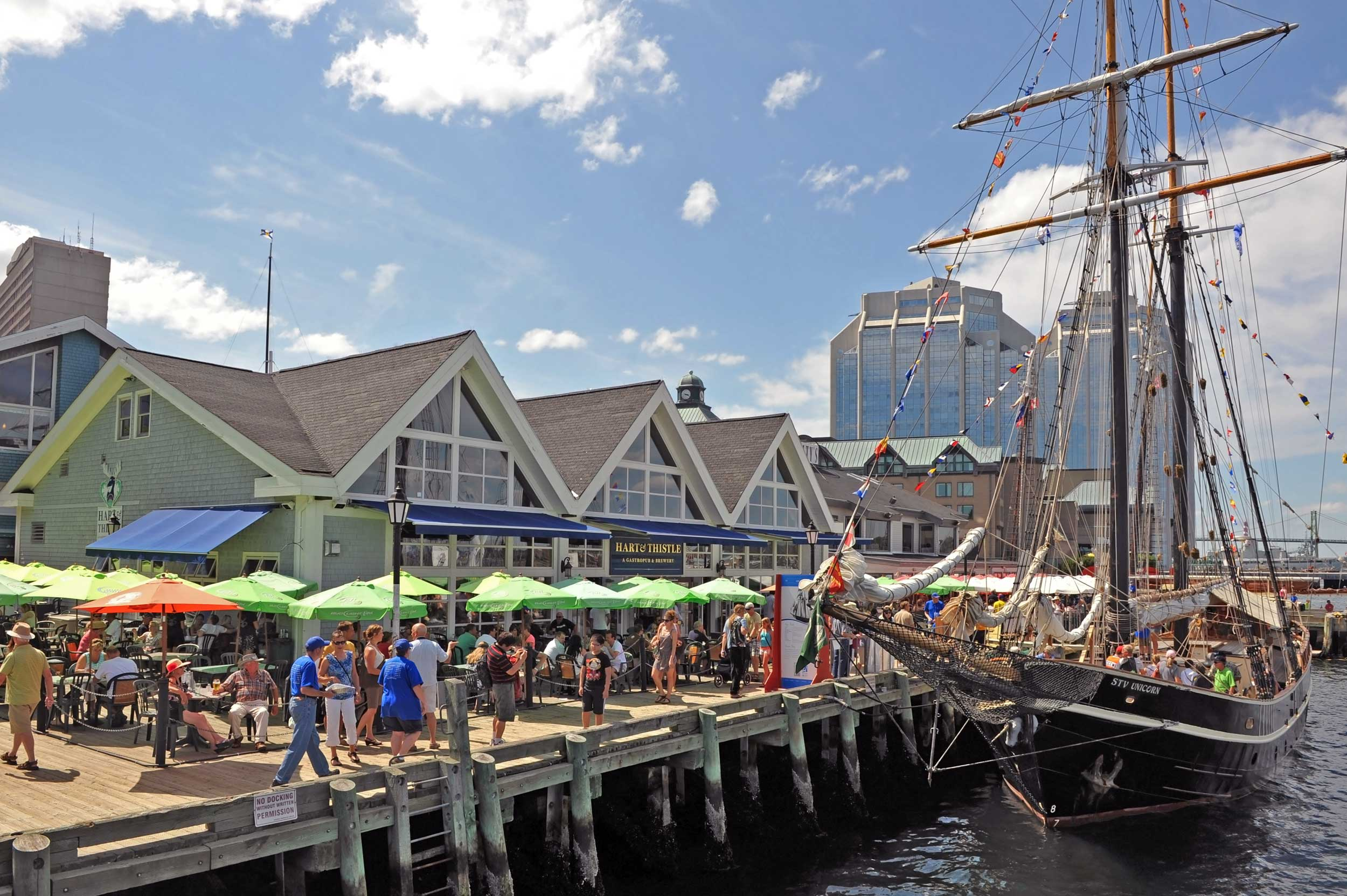 People under green umbrellas at restaurants on a boardwalk by the sea with a tall ship, Halifax