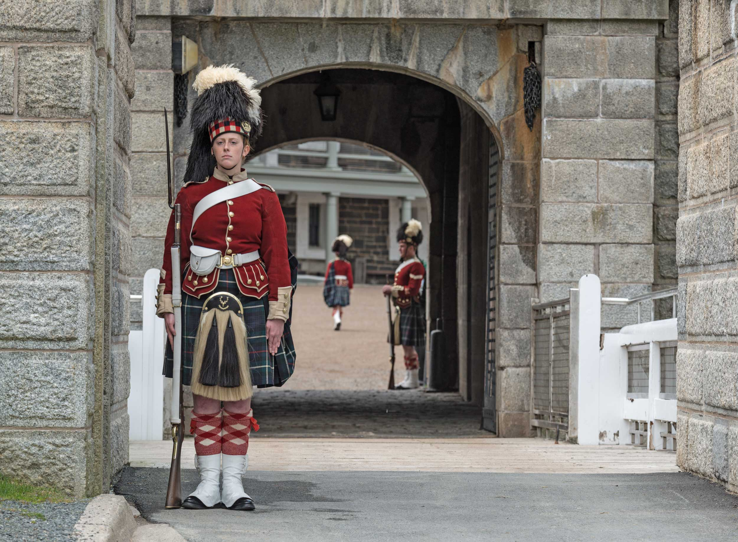 Soldiers in traditional costume at the entryway to a fortress, Halifax, Nova Sciotia