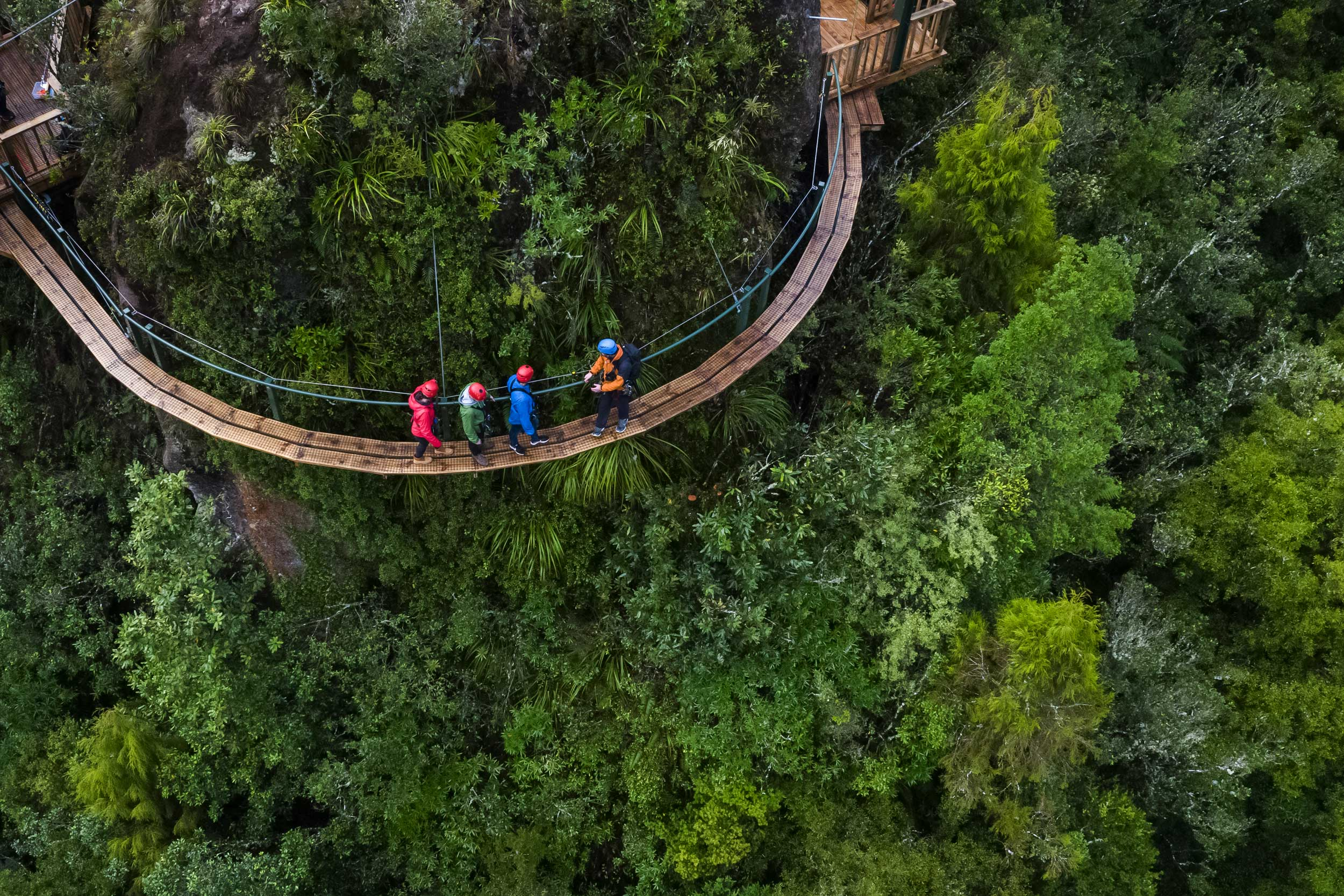 Four people on a semi-circular bridge round a bush-covered large rock, Rocky Knob, Rotorua