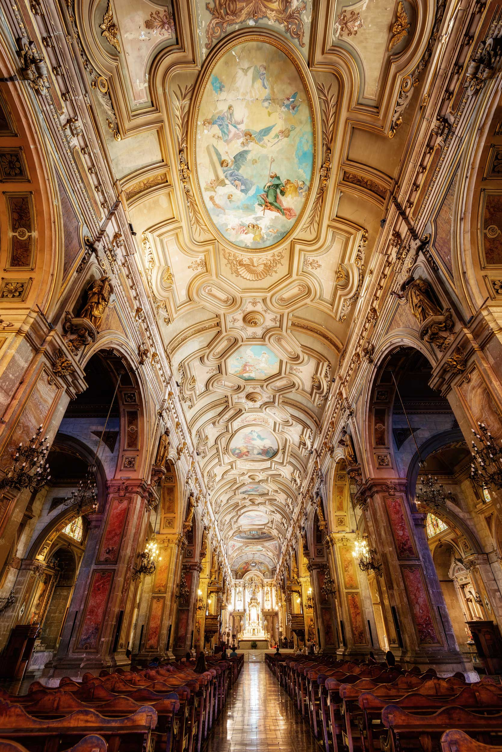 A long frescoed cathedral ceiling, Santiago