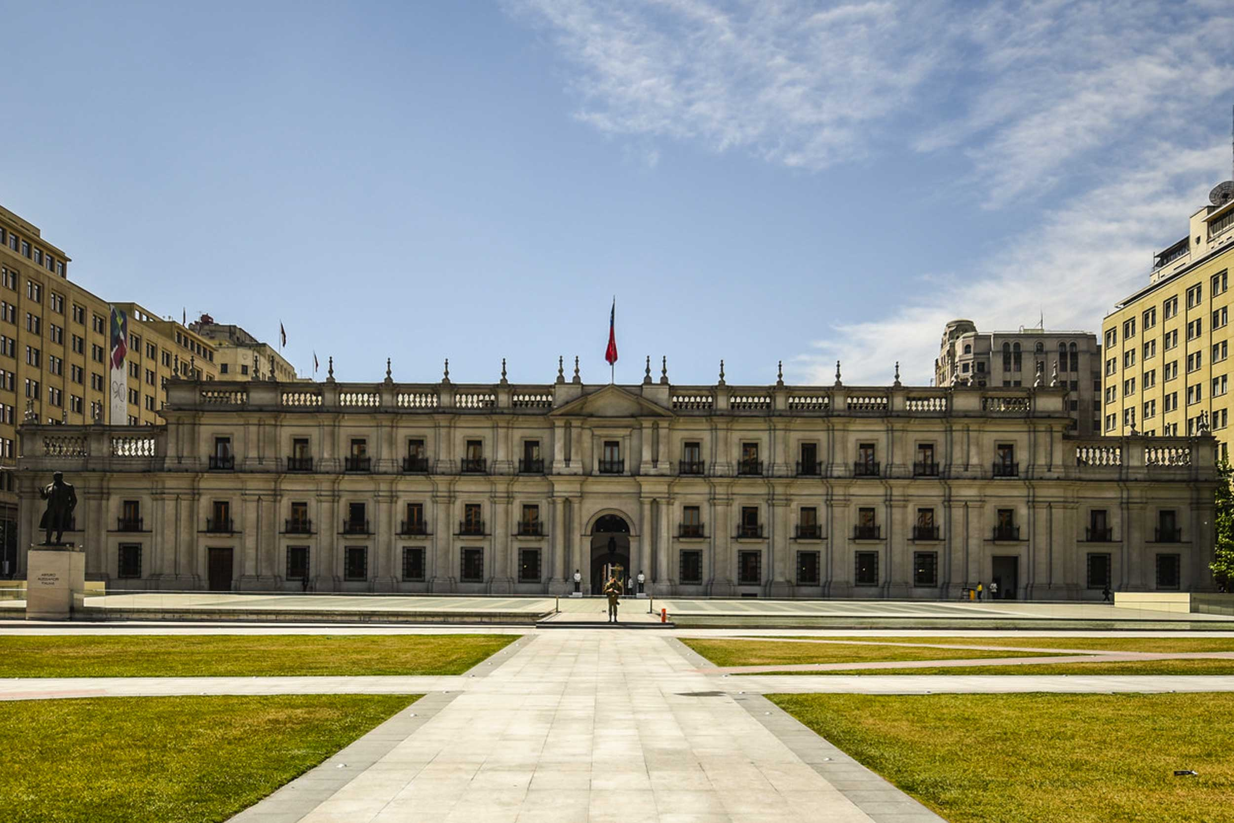 A wide, imposing colonial building in Santiago, Chile