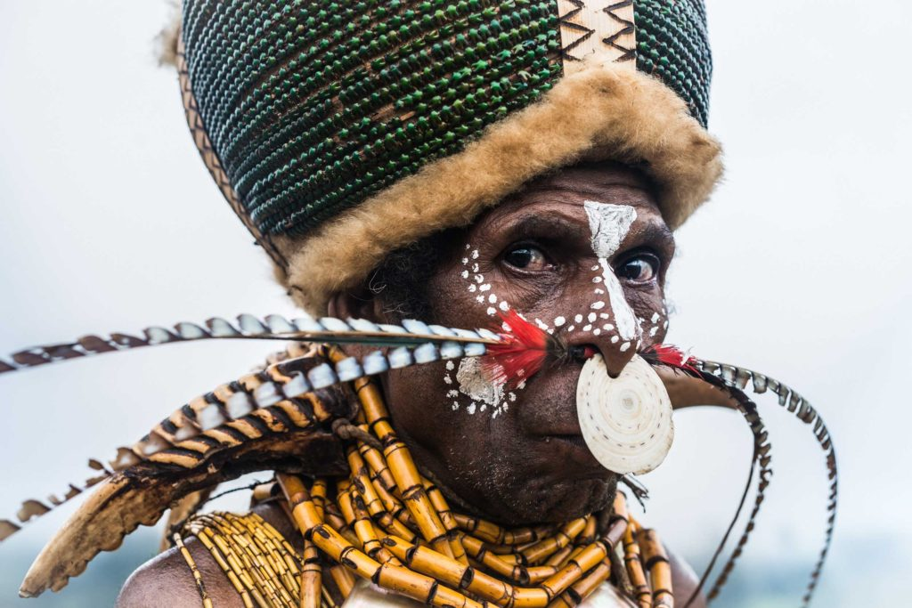 Kalam tribesman from remote Simbai, situated high in the mountains and in the heart of the Highlands region of Papua New Guinea. Kalam men are renowned for their giant headdresses made from thousands of heads of emerald green beetles. For special events, the Kalam men decorate their bodies with necklaces made of yellow orchid stalks, hornbill beaks, sugarcane armbands, and round kina shells and bird of paradise feathers threaded through the nose.
