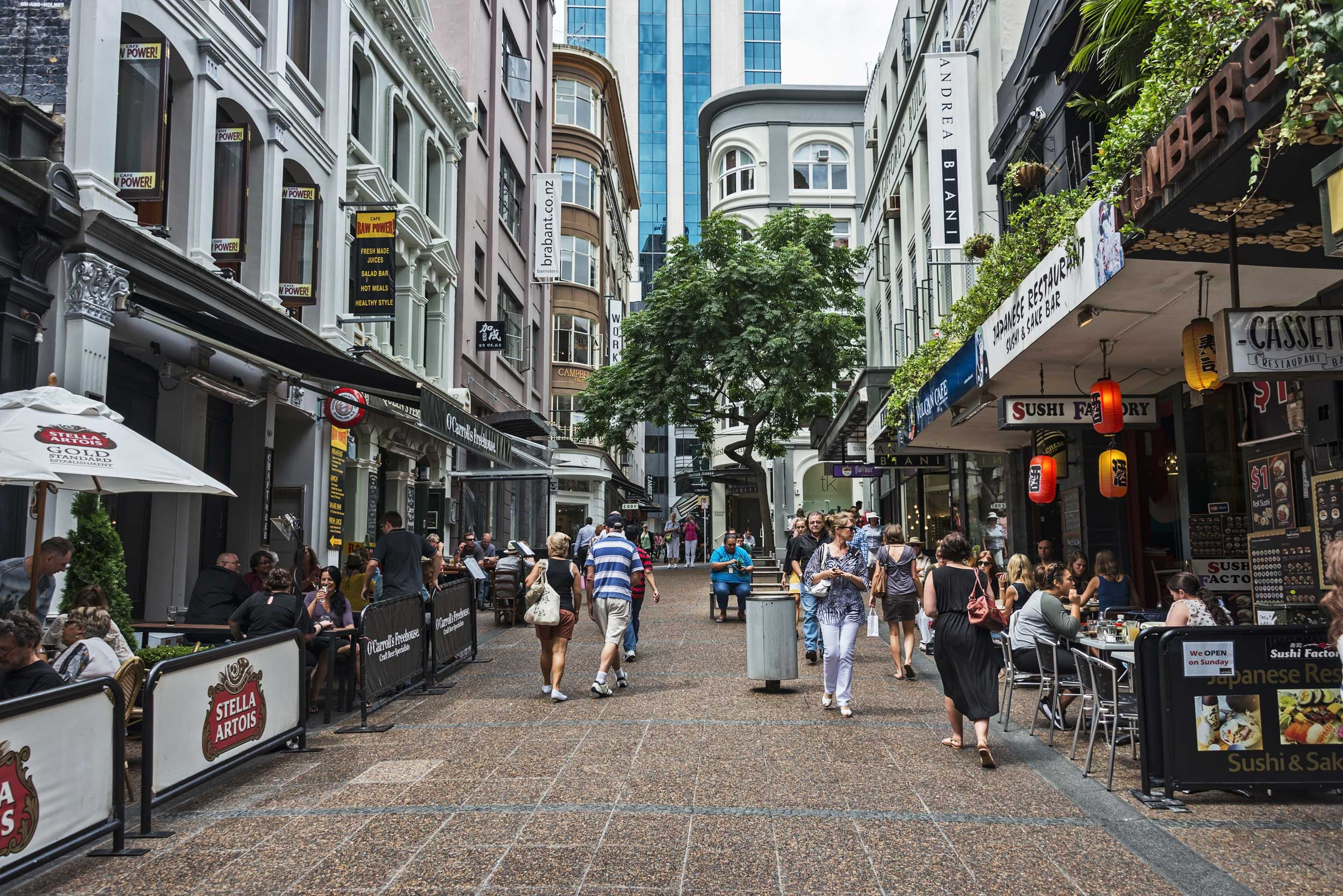 A lane with shops, bars and cafes in Auckland