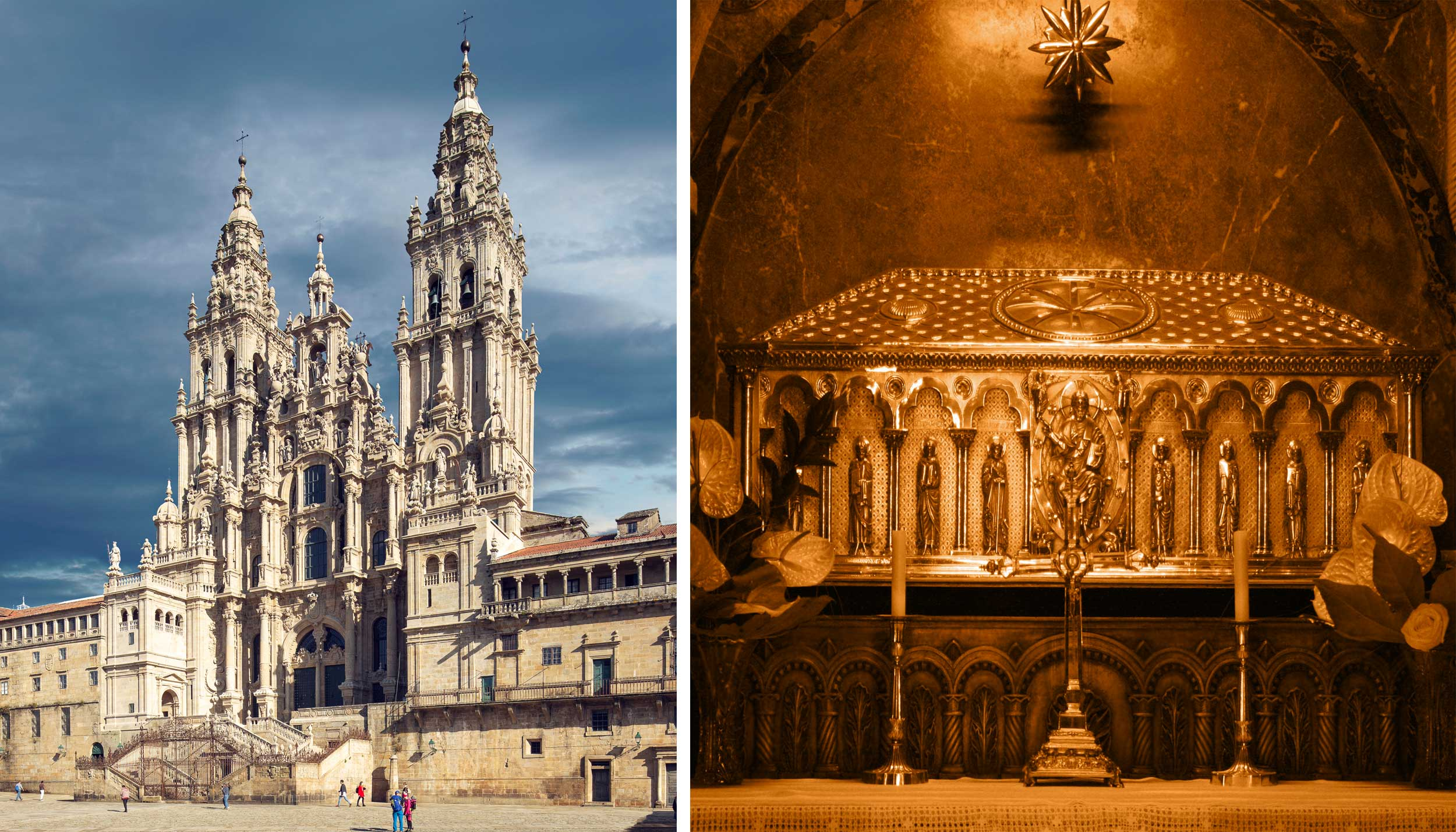 Collage of a cathedral and a coffin gilded in gold, Spain