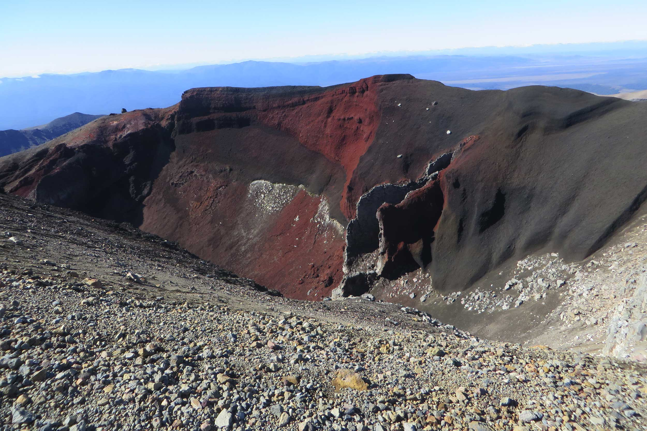 A crater with red streaked sides, Tongariro, New Zealand