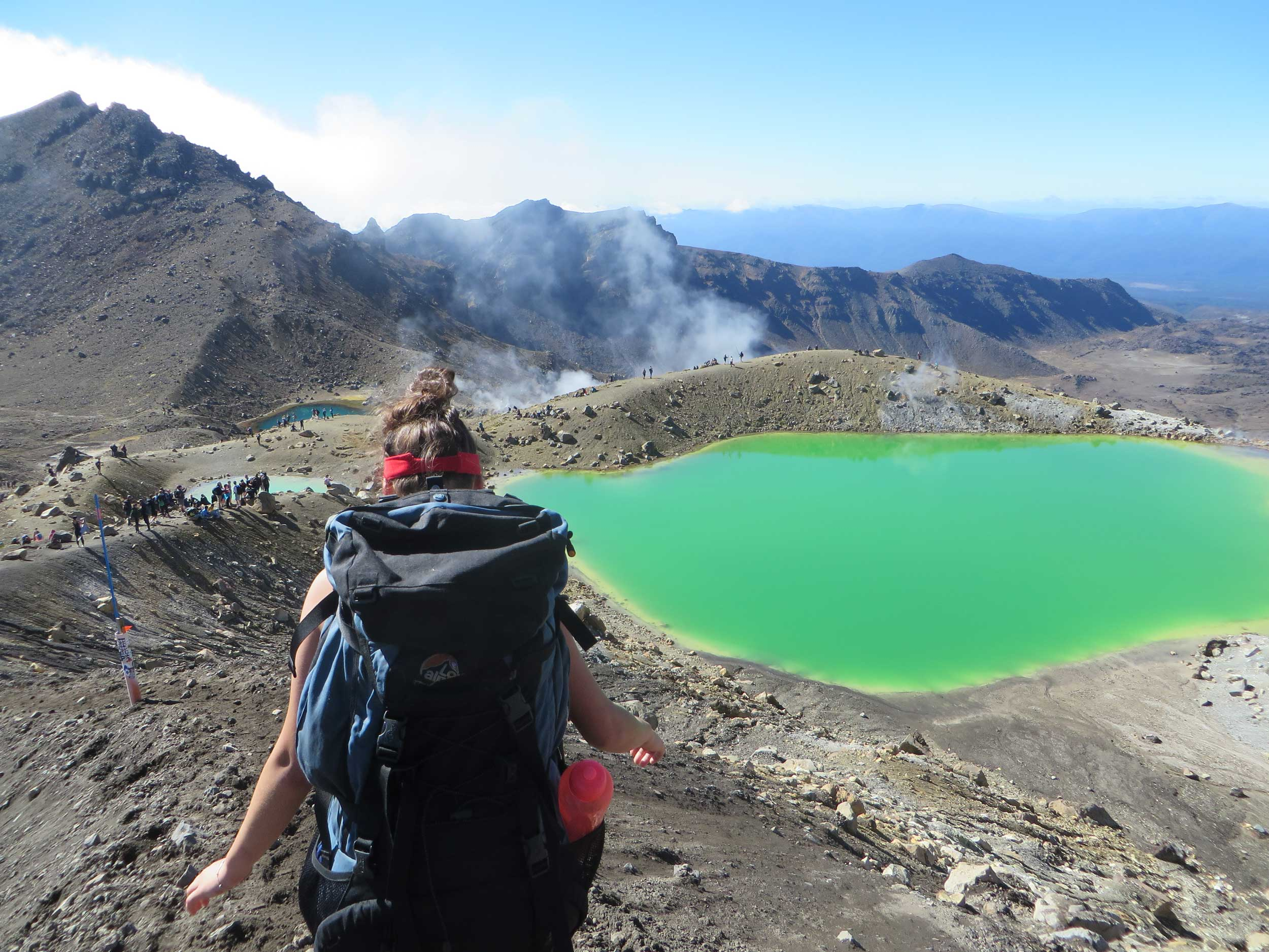 Three green lakes on the Tongariro crossing, New Zealand