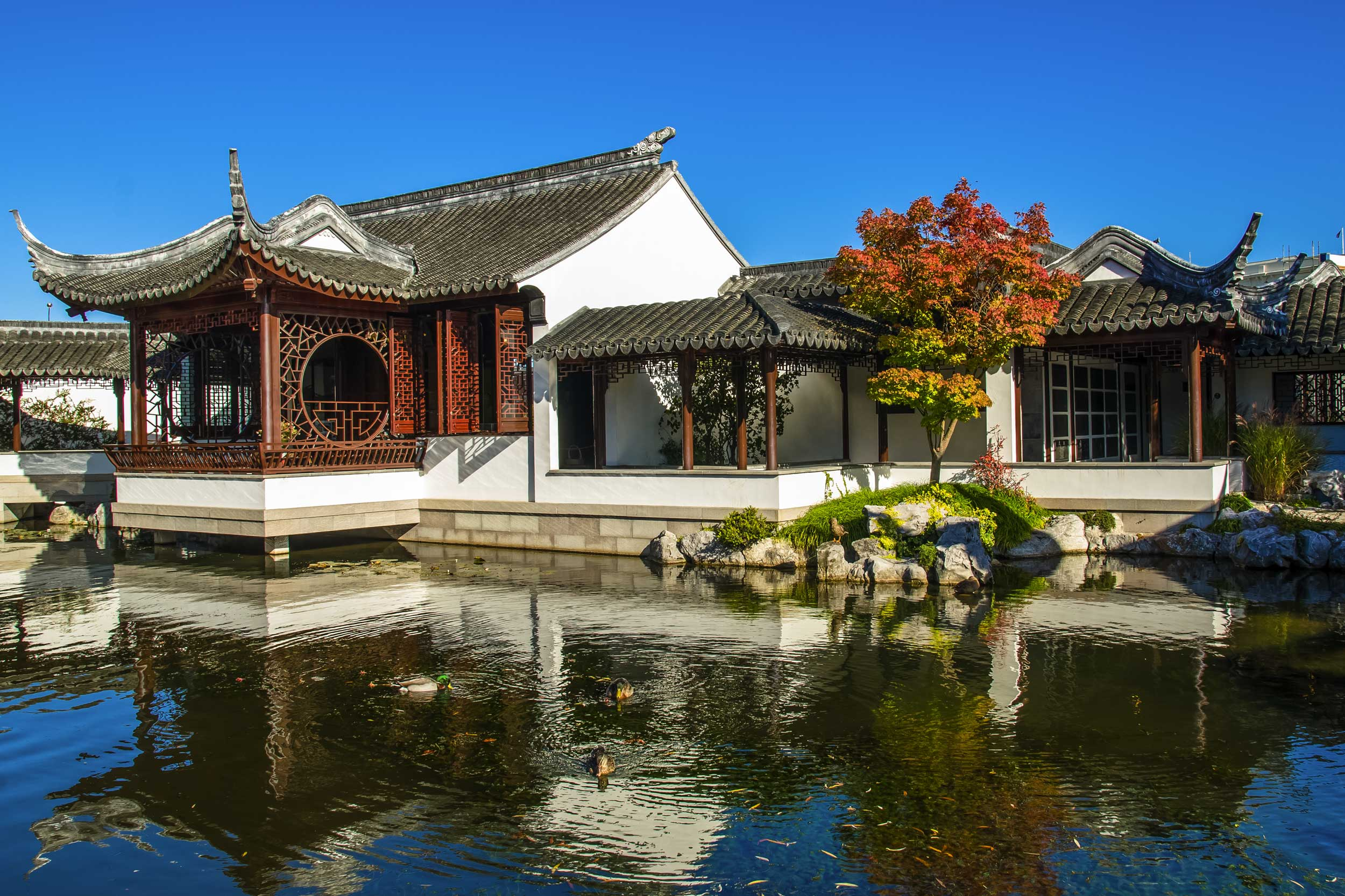 Chinese style building by a pond.